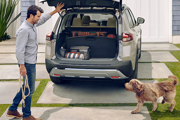 2021 Nissan Rogue with trunk open showing cargo space