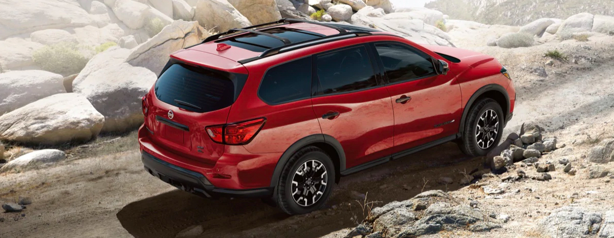 2020 Nissan Pathfinder in mountains on rocky road