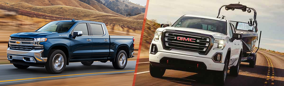 2020 Silverado 1500 Diesel Pickup Truck and White GMC Sierra AT4 3L Duramax Diesel towing a boat on desert road - narrow view