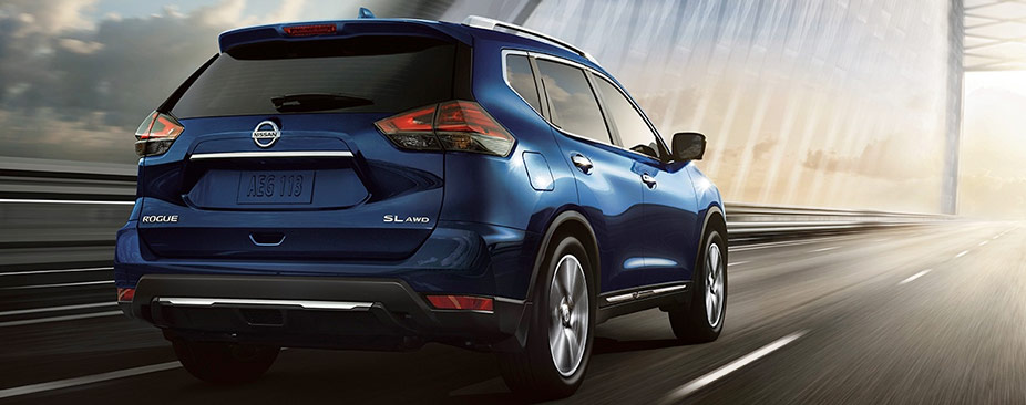 Nissan Rogue® SL shown in Caspian Blue with optional equipment