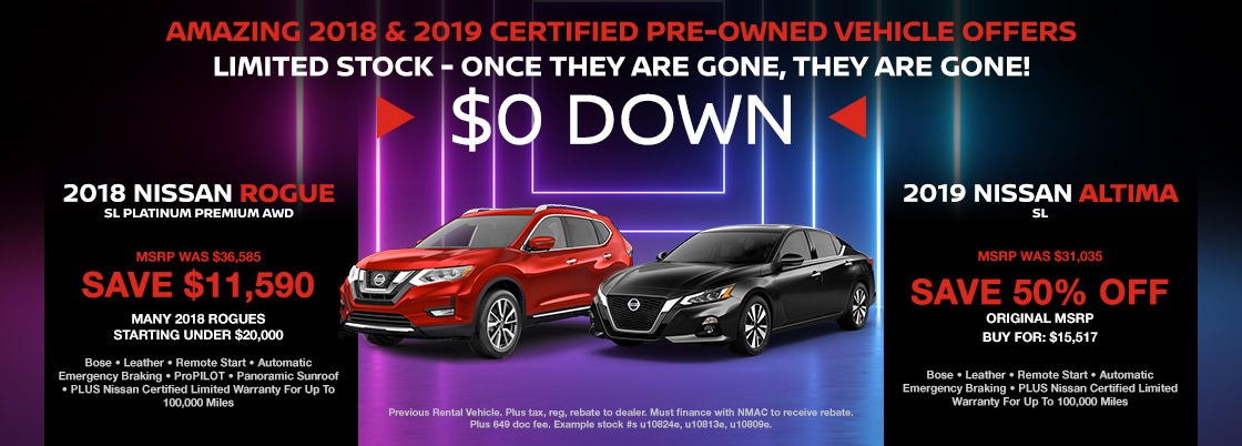 AMAZING 2018 Certified Pre-Owned Vehicle Offers Limited Stock - Once They Are Gone, They Are Gone! BIGGEST PART: $0 Down, No Payments For 90 Days