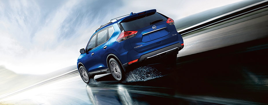 Nissan Rogue® SL AWD shown in Caspian Blue with optional equipment