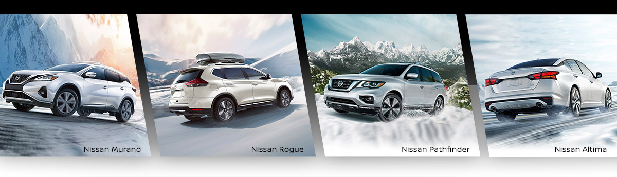 Nissan Murano & Nissan Rogue & Nissan Pathfinder in Snow — All Wheel Drive Header