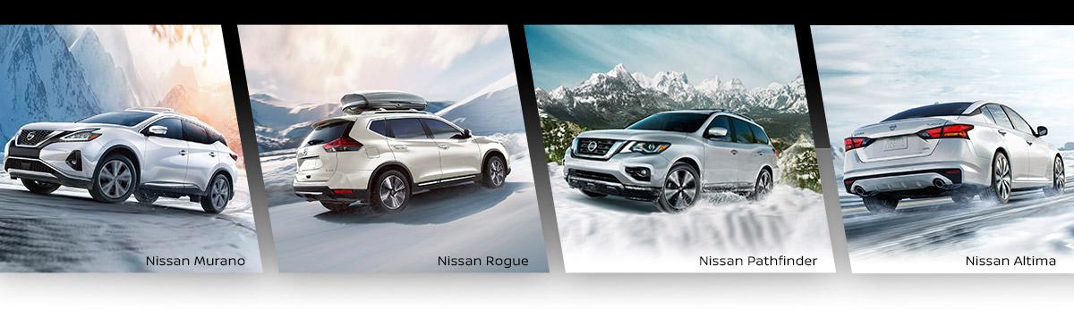 Nissan Murano & Nissan Rogue & Nissan Pathfinder in Snow — All Wheel Drive Header