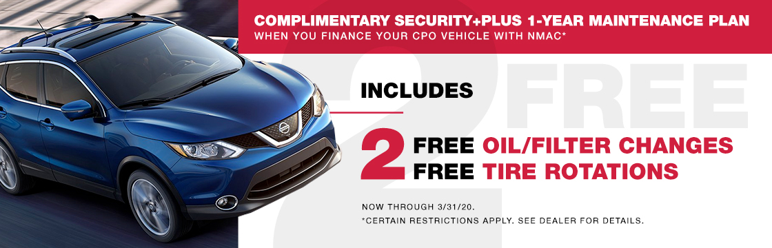 COMPLIMENTARY SECURITY PLUS 1-YEAR MAINTENANCE PLAN When You Finance Your CPO Vehicle With NMAC*
