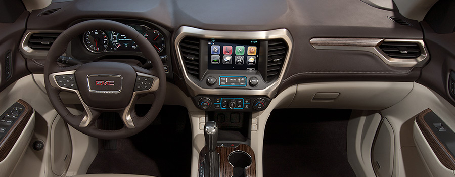 2018 GMC Acadia Denali Interior Cockpit Featuring Cocoa/Shale Perforated Leather-Appointed Seating