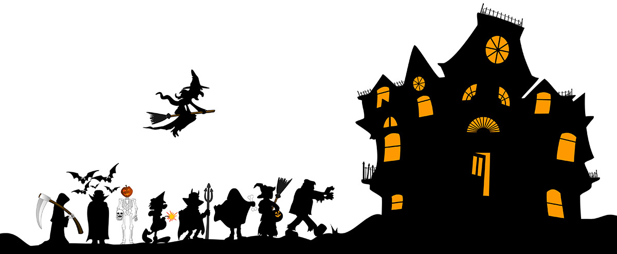 Haunted house silhouette with monsters